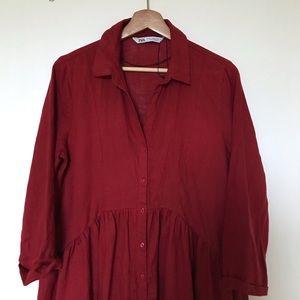 ZARA red midi linen dress